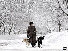 A lady walks her dogs through the streets of Janesville, Wisconsin, on Wednesday