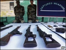 Captured weapons on display in Assam