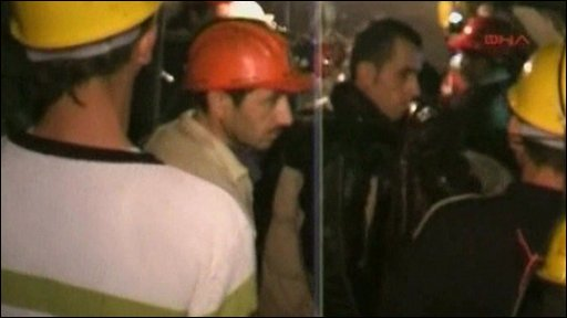 Emergency workers at the mine
