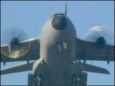 A400M military plane on test flight