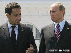 Nikolas Sarkozy and Vladimir Putin