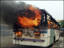 Bus on fire in Hyderabad