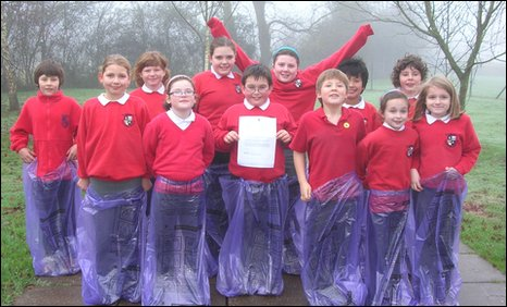 Llanvihangel Crucorney primary pupils who wrote to Monmouthshire council over spelling error