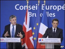 UK Prime Minister Gordon Brown and French President Nicolas Sarkozy