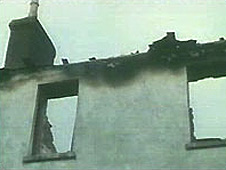 An arson-damaged house