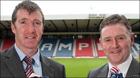 Jim Gannon and Hugh Dallas during a Co-operative Insurance Cup photocall