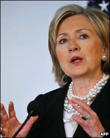 Hillary Clinton speaking druing a briefing on US-Latin America relations 