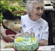Elizabeth Barrow celebrating her 100th birthday, 21 August 2009, at her son Scott's home in Dartmouth