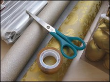 wrapping paper and scissors