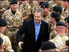 Tony Blair with British troops in Basra, in 2004