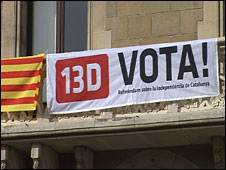 Flag on street, Catalonia