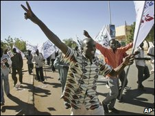 Sudanese demonstrators demanding electoral reforms, ahead of next year's crucial national elections, in the capital Khartoum on 7 December