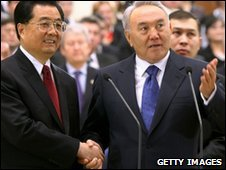 Chinese President Hu Jintao  and Kazakh President Nursultan Nazarbayev opening the Kazakh section of the pipeline on Saturday 12 December 2009