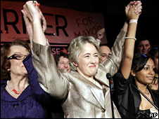Houston Mayor-elect Annise Parker, centre, celebrates her run-off election victory at a campaign party (12 December 2009)