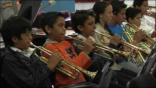 Venezuelan children playing trumpets