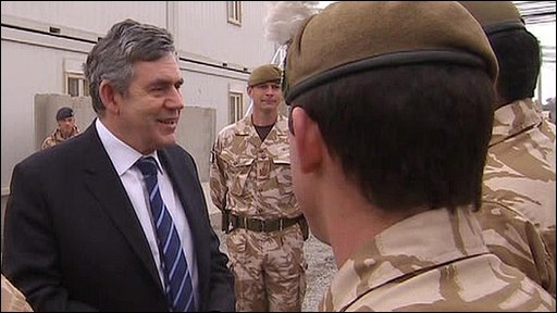 Gordon Brown with troops in Afghanistan