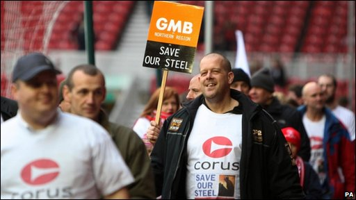 Steelworkers march at the Riverside Stadium