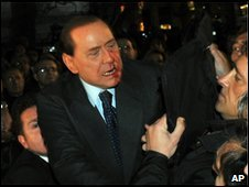 Berlusconi nose broken by protest attacker