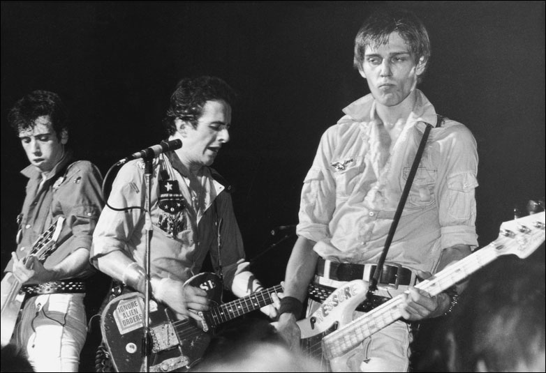 Mick Jones, Joe Strummer and Paul Simonon of punk rock band The Clash