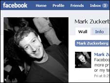 Screengran of Mark Zuckerberg's Facebook page, Facebook