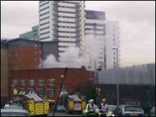 Fire at the two storey warehouse