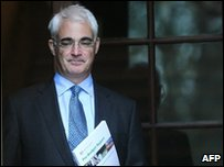 Alistair Darling, the Chancellor of the Exchequer leaves the Treasury to give his Pre-Budget report