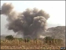 A screen grab from rebel taken footage showing smoke billowing from the site of an airstrike in Yemen,