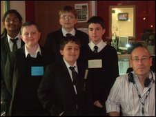 The pupils with BBC Coventry & Warwickshire's Mark Powlett
