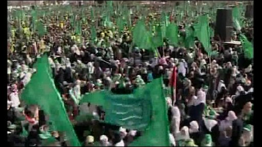 Hamas flags at rally