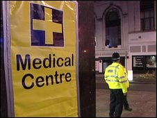 The temporary medical centre in Wolverhampton