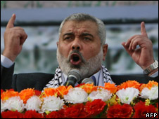 Ismail Haniya addressing Hamas' 22nd anniversary