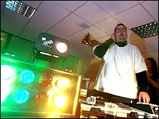 Keith DJs at the Wernham Hogg Christmas party