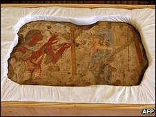 One of five frescoed fragments that France is handing over to Egypt, 14 December 2009