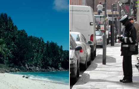 Beach in the Seychelles and London traffic warden