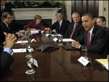 President Obama speaking to members of the financial industry