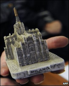 A replica of Milan's iconic gothic cathedral, the Duomo, similar to that used in the attack on Silvio Berlusconi