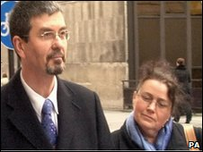 Rev Simon Boxall and his wife at the Old Bailey