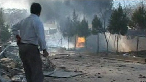 Man looking at scene of blast