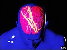 Image of a man's brain with a symbolic lightening flash