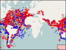 Map of global ship movements, Royal Dirkzwager