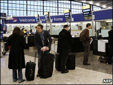 Passengers queuing at Heathrow Terminal 5
