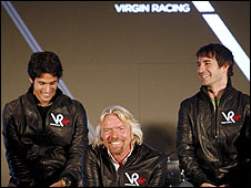 Virgin boss Richard Branson is flanked by drivers Lucas di Grassi (left) and Timo Glock