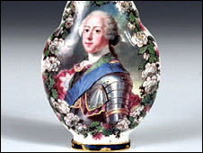 A Capodimonte scent bottle, 1753, showing the lost portrait of Prince Charles Stuart