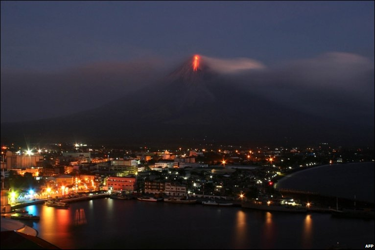 Lava flows down Mayon volcano, Albay province, Philippines