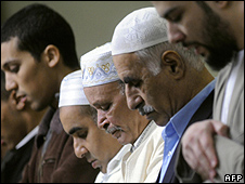 Muslims at prayer in Mulhouse, France - file pic