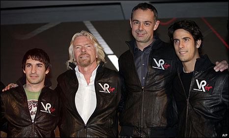 Driver Timo Glock, Virgin boss Richard Branson, Virgin design boss Nick Wirth and second driver Lucas di Grassi