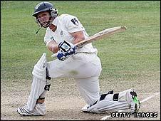 BJ Watling plays a sweep shot in Napier