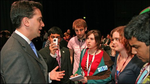 Secretary of State for for Energy and Climate Change Ed Miliband with young delgates at the UN Climate Change Conference in Copenhagen