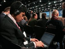 Young reporter Aakash, 15, from Harrow, London, writing a report for BBC News School Report from the Bella Conference Center in Copenhagen during the UN Climate Change Conference