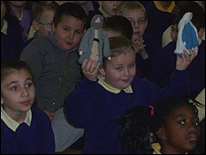 Children with Nativity characters